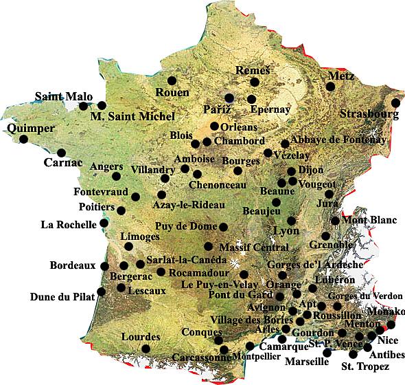 Francie Mapa Pamatek